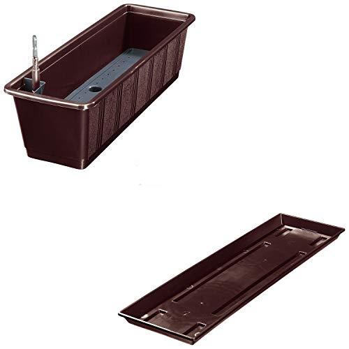 Balkonkasten Aqua Green Plus mit Bewässerung und Passendem Untersetzer, Farben:braun 08, Länge:60 cm