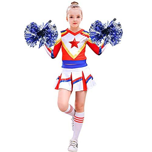 Tacobear Cheerleader Kostüm Mädchen Kinder Cheerleading Uniform mit Cheerleader Pompons und Socken Rot Weiß Blau Cheer Leader Karneval Halloween Outfit für Mädchen 3 4 5 6 7 8 9 10 11 Jahre (S, 120)