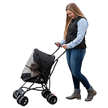 Pet Gear Travel Lite Pet Stroller for Cats and Dogs up to 15-pounds, Black