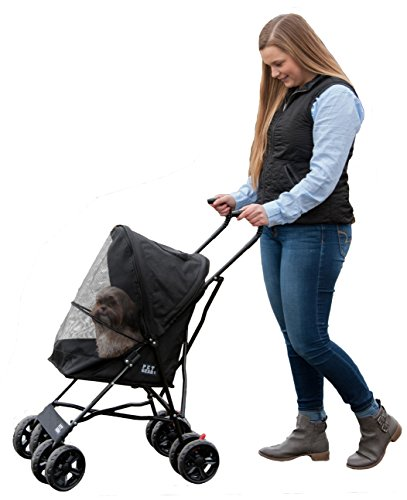 Pet Gear Travel Lite Plus Stroller, Compact, Easy Fold, No Assembly Required, Jet Black