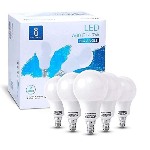 Aigostar - Bombilla LED A60, Casquillo E14, 7 W, Luz Blanca Fría 6400K, Ángulo 280°, 595 lúmenes, no regulable - Caja de 5 unidades