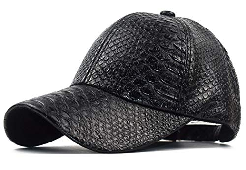 INOGIH Snakeskin-Leather Baseball-Cap Unisex Casual-Dad-Hat Adjustable Snapback for Women Men Black