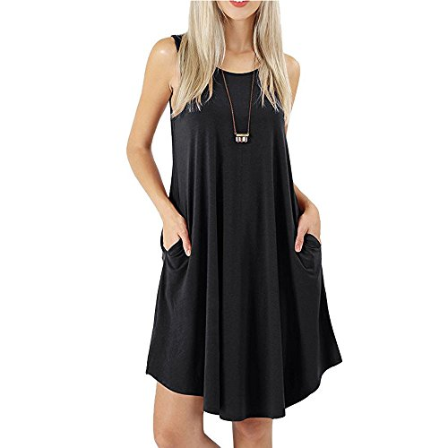 LANSKIRT Mini Vestido de Verano Elegantes Mujer Vestido de Fiesta Falda sin Mangas de Color sólido Elegante de Mujeres Vestido con Bolsillo Vestidos de Verano Vestidos playeros Falda