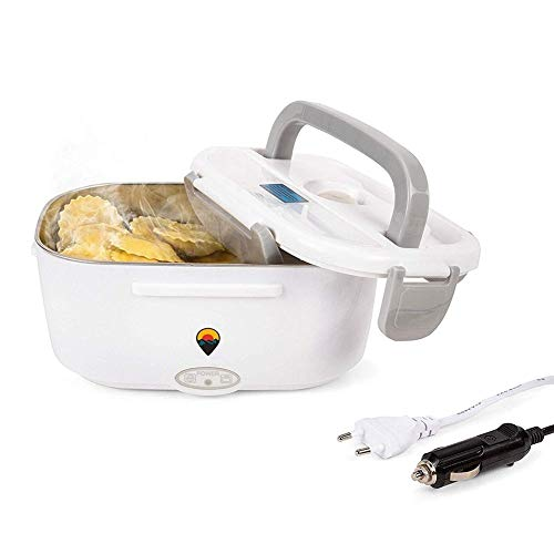 GAO-bo Bento Box térmica, calefacción eléctrica Caja de Almuerzo, Comida Calentador más Caliente con 1.5L de Acero Inoxidable Desmontable envase de alimento for el coche-12V for el Coche