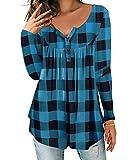 DEMO SHOW Damen Tunika Top Locker Langarm V Ausschnitt Knopfleiste Plissiert Floral Henley Shirt Bluse T Shirt (Kariert blau, 2XL)