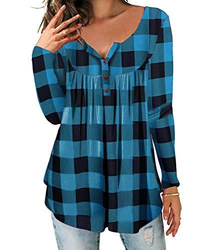 DEMO SHOW DEMO SHOW Damen Tunika Top Locker Langarm V Ausschnitt Knopfleiste Plissiert Floral Henley Shirt Bluse T Shirt (Kariert blau, 2XL)
