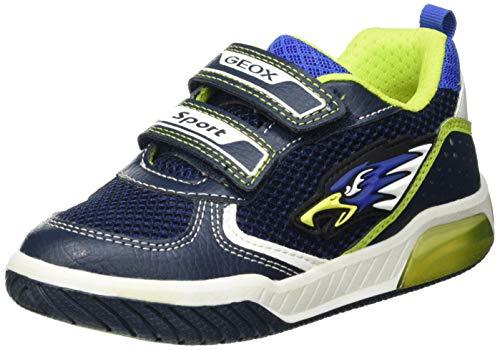 Geox J INEK Boy B Sneaker, Navy/Lime, 30 EU