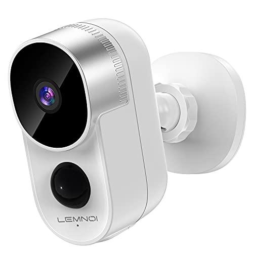 Lemnoi Cámara Vigilancia WiFi Exterior con Batería Recargable Inalámbrica, Cámara IP 1080P con Audio Bidireccional Visión Nocturna Impermeable PIR Detección de Movimiento para Hogar Seguridad, A103