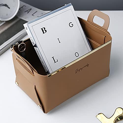 Onlyup Faltbarer Aufbewahrungskorb Leder,Aufbewahrungskörbe Kleinigkeiten Handliche Aufbewahrungskoffer Nordic Portable Desktop Decor Home Office,12,5x14x22cm (Hellbraun)