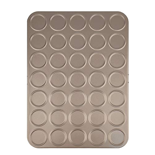 VALORILIMIT Cookie Sheet Macaron Pan, Non-stick Carbon Steel Shallow Bakeware for Baking Pastry, Cookie, Macaron, Brioche(Champagne Gold, 35 Capacity)