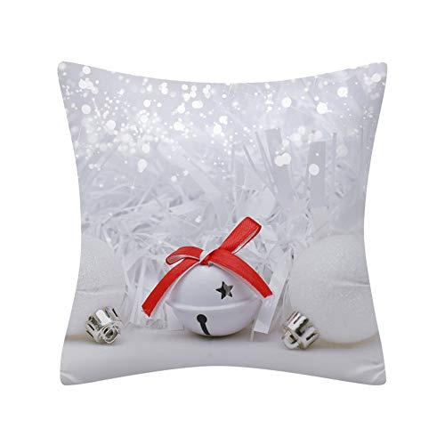 WWLDPTTCD Funda de cojín navideño Escena de Nieve Bola de Navidad Impresión Funda de Almohada de poliéster...
