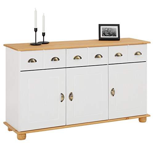 IDIMEX Buffet Colmar Commode bahut vaisselier Meuble Bas Rangement avec 3 tiroirs et 3 Portes battantes, en pin Massif lasuré Blanc et Brun