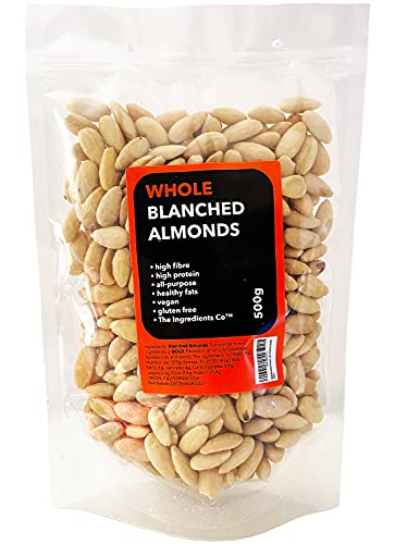 500g Blanched Almonds, Whole, Raw, Natural, Vegan, Gluten Free, High in Protein, Premium Quality (Resealable and Recyclable Pouch)
