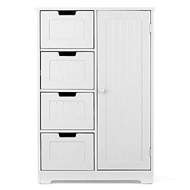 iKayaa Wooden Floor Cabinet with 4 Drawers, 2 Shelves Bathroom Free Standing Storage Cabinet