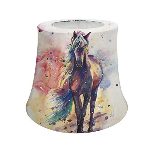 Snilety Men Women Lampshade Watercolor Horse Pattern Durable Fabric Chimney Cover Lampshade with Metal Frame Trendy Home Decorations Size S