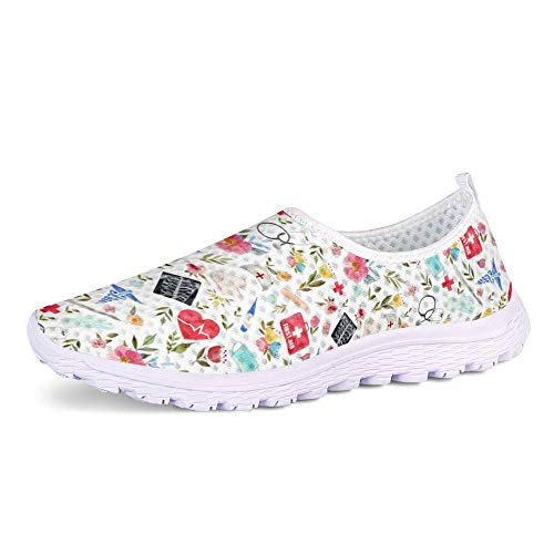 UOIMAG, Zapatos de Enfermera con diseño de Flores, Zapatillas Informales para Mujer, Zapatos Planos de Enfermera, Zapatos sin Cordones, Zapatos de Malla Transpirables 38EU