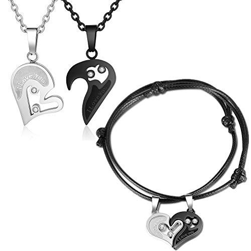Gkmamrg Partner Pärchen Geschenk Puzzle Herz Anhänger mit Ketten Armbänder Valentinstagsgeschenk, Paar Halskette 50cm 60cm Partnerketten Verstellbar Armreifen Liebesgeschenk