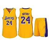 DERTL Verwendet für Kobe Bryant Nr. 24 Los Angeles Lakers Fans Jungen Mädchen Blue Ball Trikots Kinder Jugendliche Erwachsene Sportanzüge Hemd Weste + Top Sommer Shorts Zweiteiliges Set-Yellow-S