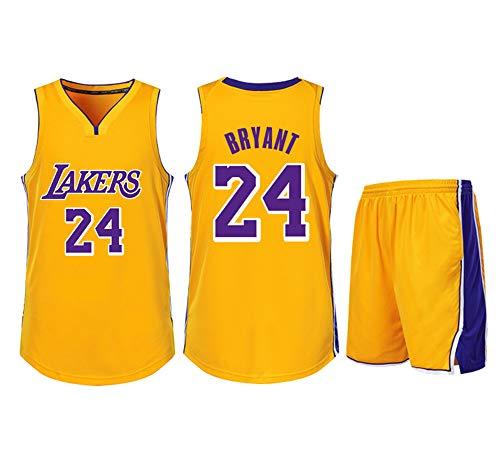 DERTL Verwendet für Kobe Bryant Nr. 24 Los Angeles Lakers Fans Jungen Mädchen Blue Ball Trikots Kinder Jugendliche Erwachsene Sportanzüge Hemd Weste + Top Sommer Shorts Zweiteiliges Set-Yellow-M
