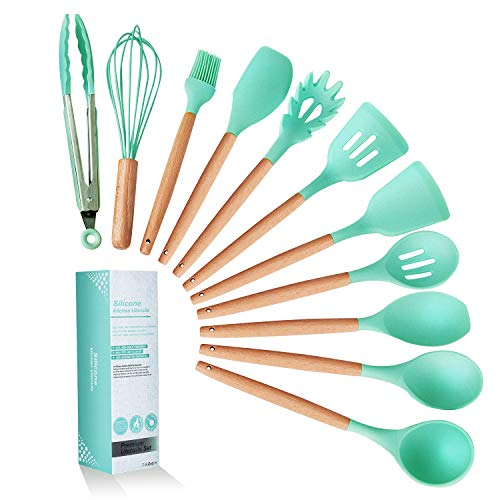 K Kwokker Kitchen Utensil Set 11pcs Silicone Cooking Dinnerware with Wooden Beech Handles Heat-resistant Slotted and Flexible Turner Spatula Slotted Spoon Soup Ladle Serving Spoons Green
