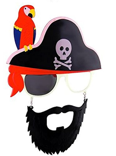 Sunstaches Pirate Beard Sunglasses, Skull & Crossbones, Parrot, Instant Costume, Party Favors, UV400