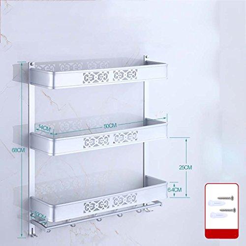 A salle de bain étagère Porte-serviette sculpté espace aluminium salle de bains étagère trois étages double levier installation perforée (40cm, 50cm, 60cm) (taille : 50 cm)