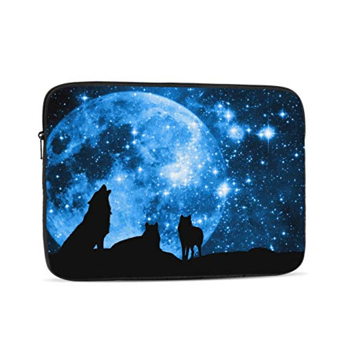 MacBook Pro 13 Cases Howling Wolf in Blue Starry Sky with Full Moon MacBook Pro Accessories Multi-Color & Size Choices 10/12/13/15/17 Inch Computer Tablet Briefcase Carrying Bag