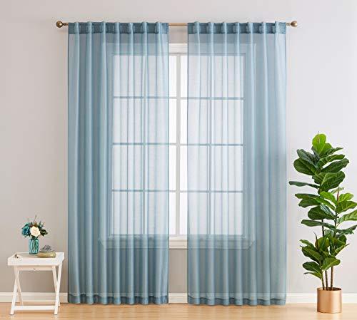 HLC.ME Lauren Semi Sheer Light Filtering Transparent Pocket Top & Back Tab Lightweight Short Window Curtains Drapery Panels Bedroom & Living Room, 2 Panels (54 x 63 Inch, Dusty Blue)
