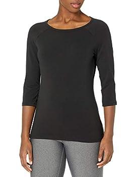Hanes Women s Stretch Cotton Raglan Sleeve Tee Black X Large