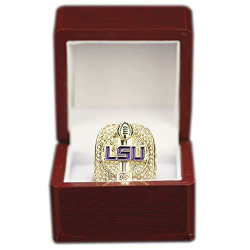 Fei Fei 2019 Louisiana University League NCAA LSU Championship Ring Anillos de Hombre, Championship Anillo de réplica Personalizado Anillos de Diamantes para Hombres,with Box,15#