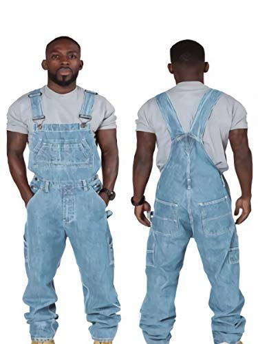SCYDAO Moda para Hombre Jeans Denim Bib MODIFERS Suelto múltiples Bolsillos Correas Ajustables,Azul,3XL