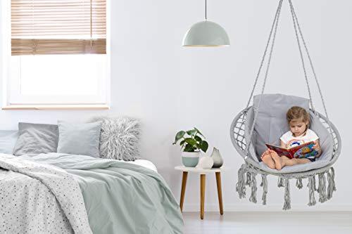 VITA5 Hängesessel mit Kissen, Bücherfach & Abdeckhaube - Hängestuhl für Erwachsene & Kinder -Belastbar bis 150 kg - Hängesessel Outdoor & Indoor (Wohn & Kinderzimmer, Garten) (Grau) - 6