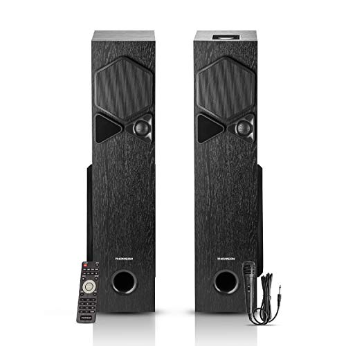 Thomson TSP10 100Watts Bluetooth Tower Speakers with AUX/USB/FM & Mic for Karaoke (Black)
