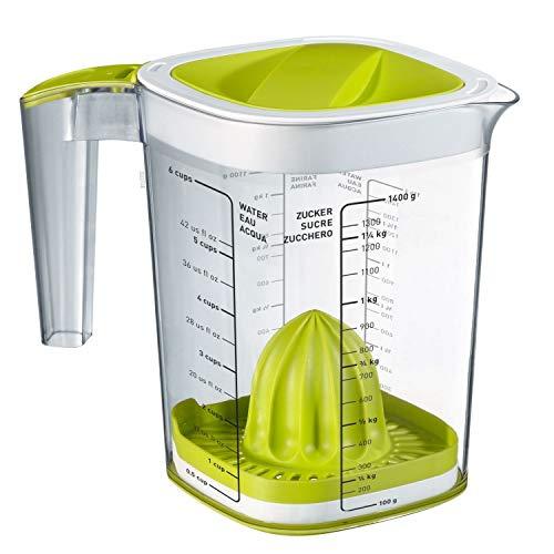 Rotho Loft Back-Messbecher mit verschiedenen Aufsätzen, Skala und Deckel, Kunststoff (SAN) BPA-frei, transparent, 1,5l (19,7 x 14,0 x 17,5 cm)