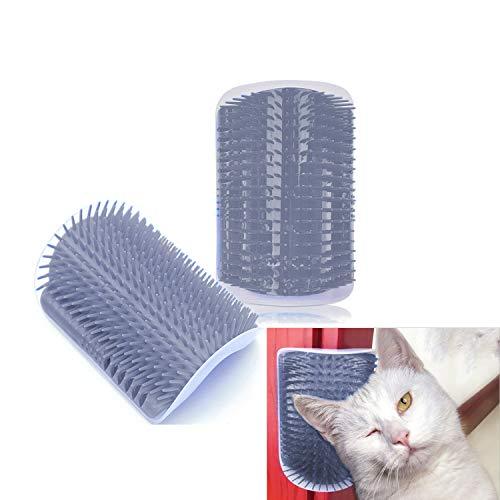 Hub's Gadget 2 Pack Cat Self Groomer, Wall Corner Massage Comb Grooming Brush, Grey
