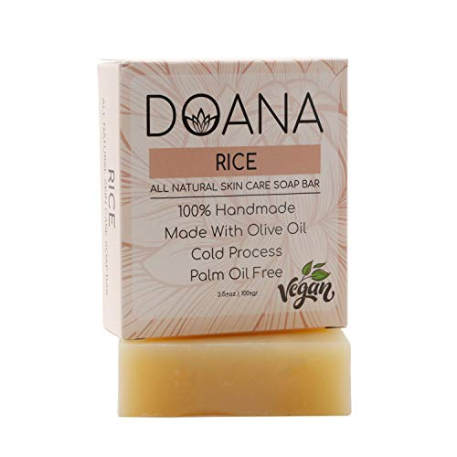 Rice Soap Bar - VEGAN With Olive Oil and Coconut Oil, Palm Oil Free, Skin Brightening Soap Bar,...