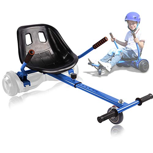 """Hoverboard Seat Attachment for 6.5"""" 8"""" 10"""" Hoverboard, Transform Hover Board into Go Kart Cart, Hoverboard Accessories Conversion Kit for Kids Adult, Adjustable Frame Length, Upgraded Seat, Blue"""