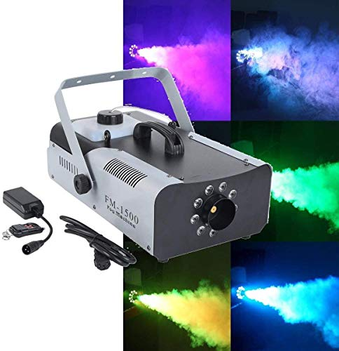 Tengchang 1500W RGB 3in1 Fog Machine 9 LED DJ Stage Decor Halloween Smoke Machine Fogger Remote