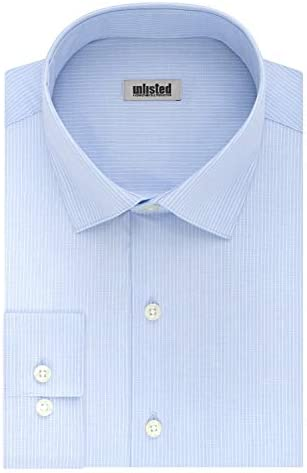 Unlisted by Kenneth Cole mens Regular Fit Checks and Stripes Patterned Dress Shirt Sky Blue product image