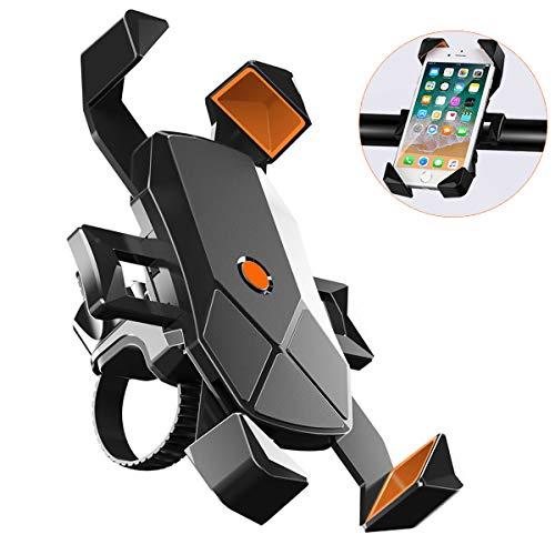 【2020最新版】自転車 スマホ ホルダー 自転車 すまほ けいたい ホルダー GPSナビ 携帯 固定用 マウント スタンド 【1秒ロックアップ】 360度回転 脱着簡単 強力な保護 高品質ナイロン伸縮アーム に適用 iPhone X XS 8 7 6 6S Plus/HUWEI Mate P20 P10 lite/Xperia android 等多機種対応