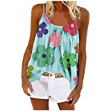 KESEELY Fashion Women Sexy Floral Print Sleeveless O-Neck Vest Camisole Blouses Tops Blue