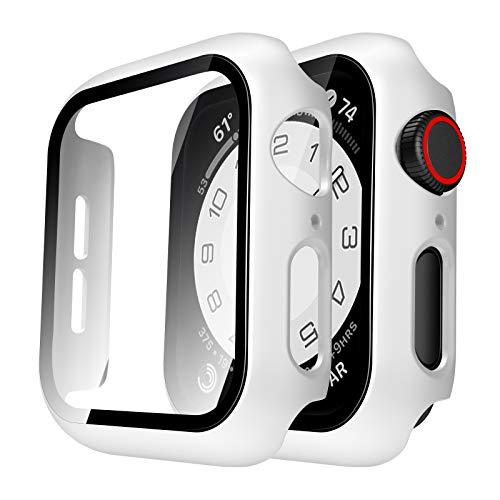 TAURI Apple Watch 44mm Serie 6/SE/5/4 Funda+Cristal Templado,PC Case y Vidrio Protector de Pantalla Integrados, Slim Cover de Bumper y Protector Pantalla (Blanco)