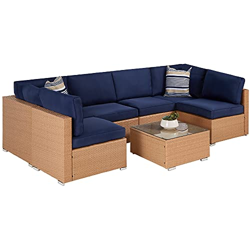 Best Choice Products 7-Piece Modular Outdoor Sectional Wicker Patio Furniture Conversation Set w/ 6 Chairs, 2 Pillows, Seat Clips, Coffee Table, Cover Included - Natural/Navy