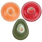 3pcs Refrigerador Creativo de la Cocina Frutas Vegetales Envases crujientes Cebolla Tomates de Aguacate Recipientes de Almacenamiento Frescos (Colores y Estilos Aleatorios)