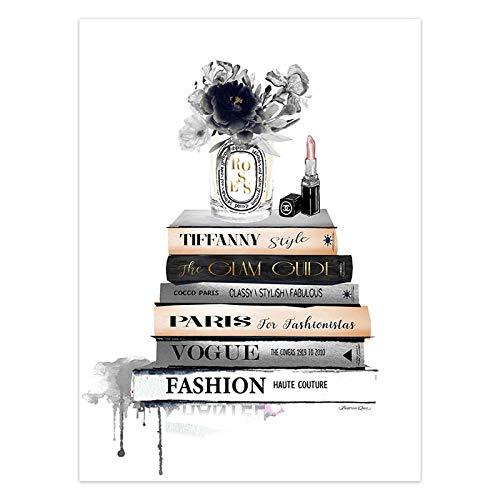 Posters En Prints Mode Poster Lippenstift Make-Up Canvas Schilderij Parijs Merk Vogue Boek Poster Muur Foto Home Decor-10