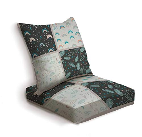 2-Piece Outdoor Deep Seat Cushion Set Set of boho patterns with rainbows feathers stars arrows and moon Back Seat Lounge Chair Conversation Cushion for Patio Furniture Replacement Seating Cushion