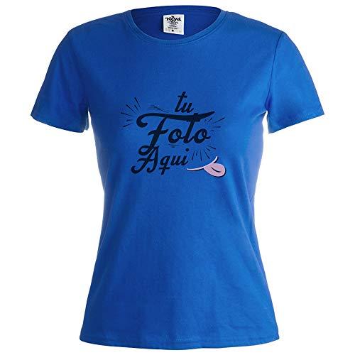 Camiseta Personalizada Mujer (Foto o Logo) Azul · Camisetas de Manga Corta/Talla S · 100% Algodón · Impresión Directa (DTG) · Especial para Mujer