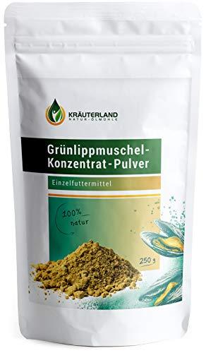 Kräuterland Grünlippmuschel Pulver 250g - 100% pur und rein - Grünlippmuschelpulver aus Neuseeland - für Hunde, Katzen, Pferde