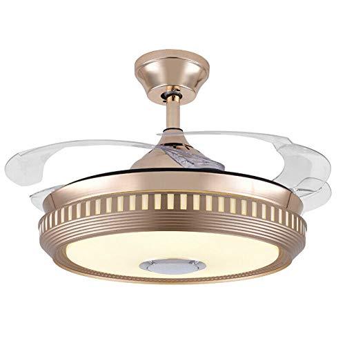MLDSJQJ Ventilador de Techo Dorado con luz Luz de Ventilador de Techo de música Bluetooth con Control Remoto, lámpara de Ventilador de Techo Reproductor de música   Ventiladore,220V
