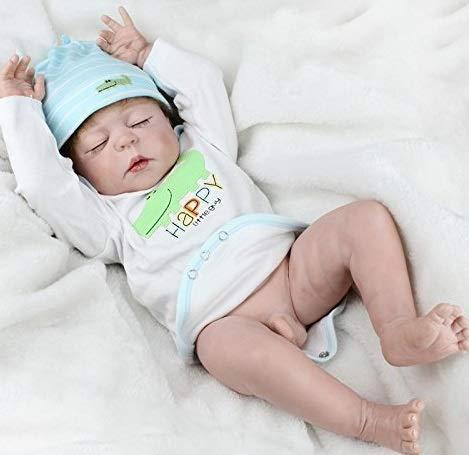 NPK Realistic Reborn Baby Dolls Boy Silicone Full Body 22 Inches Sleeping Baby Look Real Cute Newborn Reborn Dolls Anatomically Correct